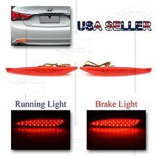 FOR 2011-13 HYUNDAI SONATA REAR BUMPER LED REFLECTOR BRAKE/RUNNING LIGHTS RED