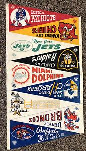Vintage 1960's AFL Pennant Lot Vinyl Sheet Boston Patriots Buffalo Bills AFL etc