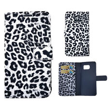 For Samsung Galaxy S6 - Leather Card Wallet Holder Flip Pouch Case Black Leopard