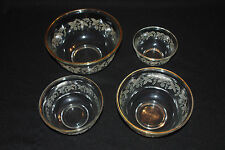4 Vintage Frosted Grapewines Clear Glass Nesting Bowl Gilt Edging Mixing Grapes