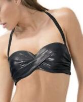 Smart Sexy Swimsuit Women's Bikini Top Black/Shiny Size 36C Self Tie Straps New