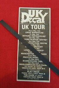 UK DECAY ORIGINAL 1981 VINTAGE GIG CONCERT ADVERT MAY UK TOUR DATES