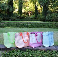 Women's Pastel Color Canvas Handbag Tote Bag Beach Shopping Zippered Rope Strap