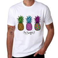 Pineapple Printed Short Sleeve Cotton Top summer tee shirts Funny T-shirt Men