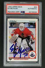 Ed Belfour Autographed Rookie 1990 Upper Deck #55 Signed Hockey Card PSA