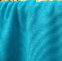"Turquoise Blue Melange Synthetic Rib Knit Fabric 55"" width Sold by the Yard"
