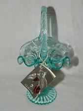 "RARE Fenton 9"" Trumpet Vase Basket Sea Mist Blue w/Handle Hanging Tag"