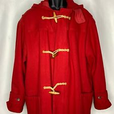 Vintage Polo Ralph Lauren Duffle Coat L Red Wool Toggles Hooded Pockets
