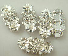 5pcs silver Plated Rhinestone Spacer Bead Decorative Accessories 3 holes  qh2