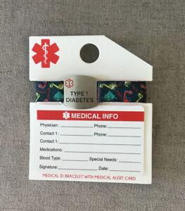 Medical ID Bracelet With Medical Alert Card Type 1 Diabetes Dinosaurs