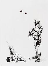 ANTONY MICALLEF Friendly Fire 2006 print poster soldier machine gun angel cherub