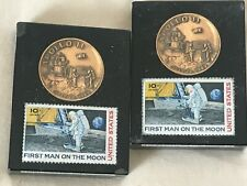 Apollo 11 Coin and Stamp - Pair - sold together - both in lucite