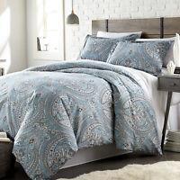 Warm Classic Aqua Green Chic Paisley 3 pcs Cal King Queen Down Alt Comforter Set