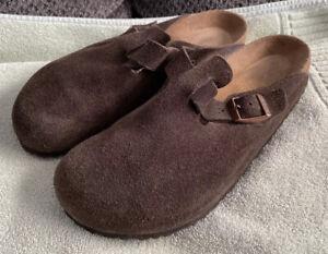 Birkenstock Boston Soft Footbed Suede Leather Clogs Mocha Brown 44 US 11