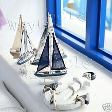 nautical party decoration SET 5pcs boat model + 1 anchor cloth holder wood decor