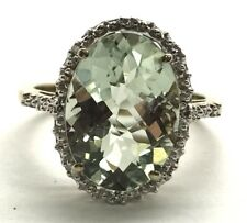Sterling Silver Oxidized Faceted Green Amethyst - Diamond Accent Cocktail Ring 7