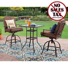 Patio Furniture Set 3 Piece Steel Outdoor Bistro Counter Height Bar Garden Pub