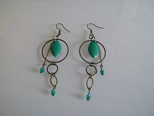 Boucles d'Oreilles Original Vert Turquoise Bronze/Marron Perle Cristal pas cher