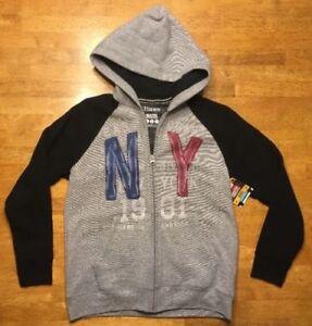 NWT Hanes Boy's Gray & Black Full Zip Hooded Sweatshirt (Hoodie) - Size: Large