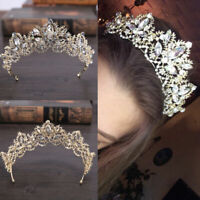 Bride Baroque Luxury Crystal AB Bridal Crown Tiaras P7D2 Light Gold Diadem H1D5