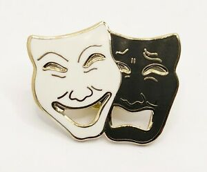 Drama mask pin badge   (black and white)