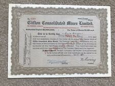Cobalt Ontario - Clifton Consolidated Mines Limited 1938 Stock Certificate