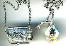 "925 Sterling Silver Garnet & Marcasite Pendant Locket Bag Box on 26"" Chain  16+g"