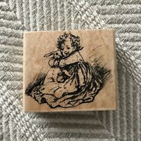 victorian greetings bunny hug C01 rare wood mounted rubber stamp RARE