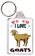 I Love Goats / Goat - Double Sided Large Keyring Key Ring Fob Chain Gift
