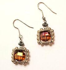 Iridescent Amber Bead Framed Beaded Silver Tone Metal Wire Drop Pierced Earrings