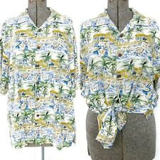 Bermuda Bay Silk Hawaiian Print Button Up Shirt Size Medium Tropical Unisex