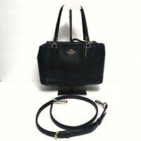 $350 COACH Cristie Black Leather Crossbody Satchel Handbag Purse F34797