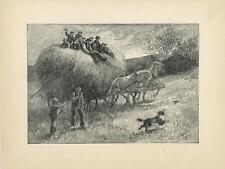 ANTIQUE VICTORIAN HAY HARVEST FARMER COLLIE DOG CHASING BIRD HORSES FARM PRINT