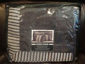 Euro Sham-Sacramento Sold by JC Penneys: Black and Gray Stripes *NEW*