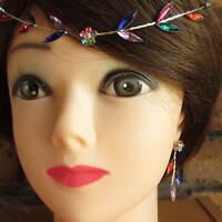 Silver Forehead Hair Headband Diamante Leaf Garland Wedding Bride 10 + Colours