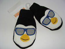 Gymboree Ice Hero Penguin Boys Size 0-12 Months Mittens Black NEW