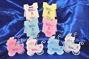 Personalised Baby Shower invitations hand made 2 designs 4 colours