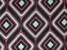 Geometric silk fabric hot pink black white woven gab style design By the yard