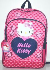 "HELLO KITTY BACKPACK SCHOOL BAG FOR GIRLS 16.5"" PINK & RED PLUS EXTRA CRAYONS"