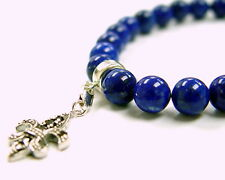 Silver Fleur De Lis Lapis Strech Bracelet With Black  Diamonds by Sacred Angels