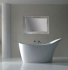 Large Silver Sparkle Mosaic Mirror Rectangular Silver Crackle Frame 60cm x 90cm