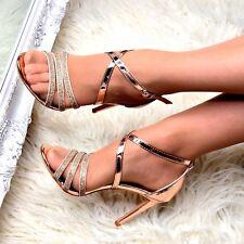 Zapatos De Fiesta Sandalias De Mujer Tacón Alto Noche Con Tiras Metálico Con Estrás Talla