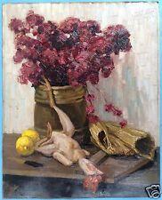 Impressionnisme peinture huile nature morte fleurs poulet citron paille signature? 1912?