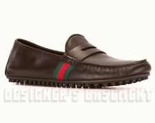 GUCCI mens 11G brown Penny KANYE green-red WEB Driving Moccasin shoes NIB Authen