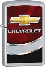 Zippo Chevy Chevrolet Bow Tie Logo Satin Chrome Windproof Lighter NEW 29318