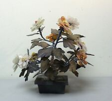 VINTAGE CHINESE JADE FLOWER TREE, MULTI-PETAL JADE FLOWERS in JADE POT