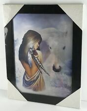 Indian Women Wolf 3D Effect Moving Picture Wall Decor Art Printing Frame