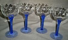 "4- 5.5"" Tall Delicate Wine/Sherry/Brandy Glasses Clear Bowl w/Med.  Blue Stem"