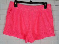 Free People Women's Juniors Neon Pink Crochet Shorts Floral Lace Size S Petite