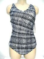 SPEEDO Women's size 12 Side Shirred One Piece Bathing Swim Suit Black White NEW